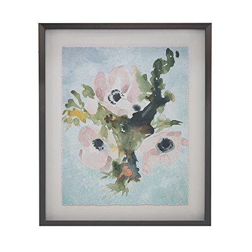 Bouquet Framed Artistic Floral Canvas Wall Art 24.95X20.95, Transitional Grey Wall Décor ()
