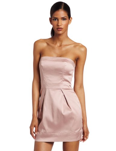 French Connection Women's Caramel Cotton Strapless Dress, Pink, 8