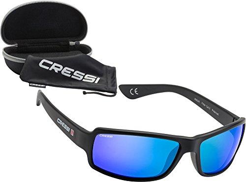 Cressi Herren Sonnenbrille Ninja Floating, schwarz/blau verspiegelt, DB100006