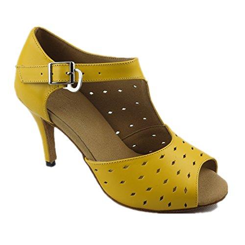 YFF Mujer de regalo zapatos de baile de salón latino baile Tango baile zapatos 8.5CM Yellow