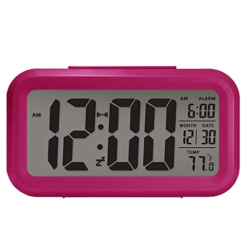 - Digital Alarm Clock, Large LCD Display,Battery Operated, Morning light sensor, Modern,Smart Snooze, Back-Light, Multi-Function Clock, Time, Date,Temperature, Suitable for bedrooms, dormitories.【Pink】