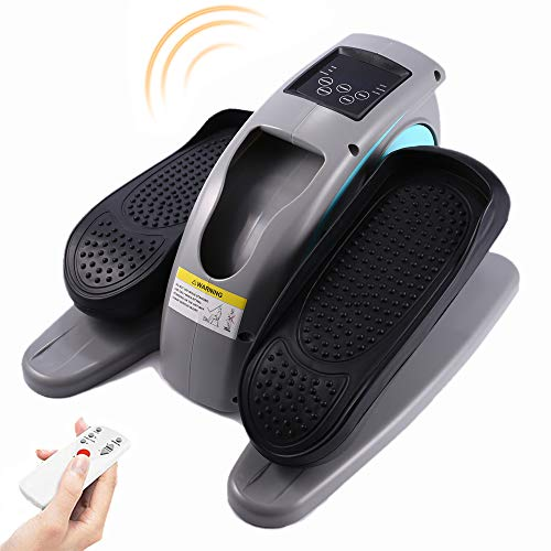 Under Desk Elliptical Machine with Monitor, Adjustable Resistance, Small Smart Quiet Compact Cardio Workout Trainer, Calories Burned for Home Office