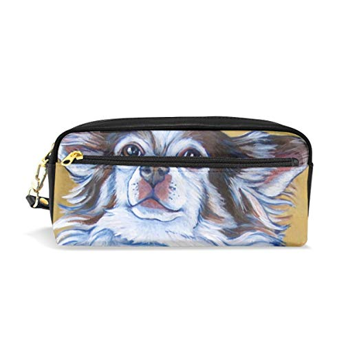(White Long Hair Chihuahua Art Painting Pencil Pack Organizer Pen Holder Case Cosmetics Glasses Canvas Bag Makeup Pouch Office Box Girls Kid Boy School Gift 2 Pockets Decor)