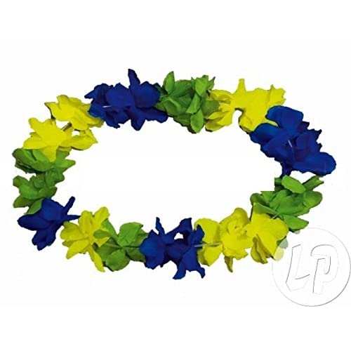 Lot de 6 - Collier tahiti 120mm bresil vert bleu jaune alt - Qualité COOLMINIPRIX®