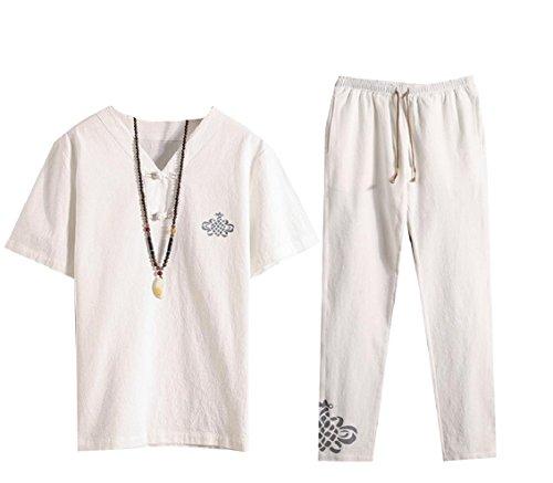KaWaYi Mens Chinese Style Oversize Vogue Linen 2 Piece Set Casual Shirts & Shorts White 4XL