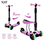 XJD Scooters for Kids Toddler Scooter with Removable Seat 3 Wheel Scooter for Boys Girls Adjustable Height PU Flashing Wheels Extra Wide Deck Scooter for Children from 2 to 8 Years Old Pink