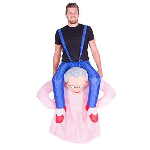 Old Man Up Costume (Bodysocks - Inflatable Grandma Piggyback Blow Up Funny Adult Fancy Dress Costume)