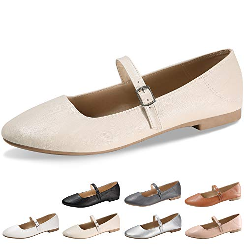 (CINAK Flats Mary Jane Shoes Women's Casual Comfortable Walking Buckle Ankle Strap Fashion Slip On(5-5.5 B(M) US/ CN37 / 9.2'', Beige))