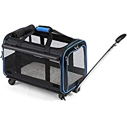 """YOUTHINK Pet Wheels Rolling Carrier, Removable Wheeled Travel Carrier for Pets up to 20 lbs, with Extendable Handle & Detachable Fleece Bed, 20"""" x 12""""x 11"""", Black (Pet Rolling Carrier)"""