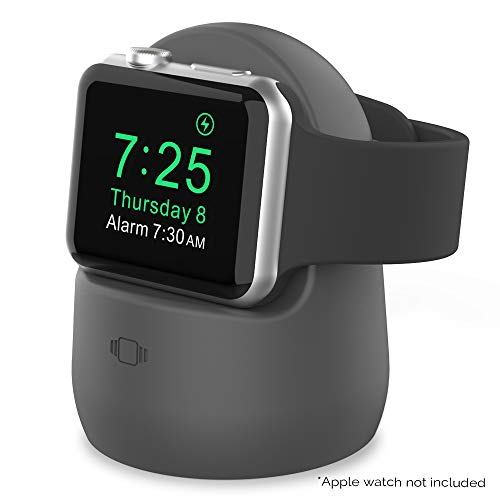 AhaStyle Silicone Stand Dock for Apple Watch Series 5/4/3/2/1,Supports Nightstand Mode【Adapters NOT Included】(Dark Gray)
