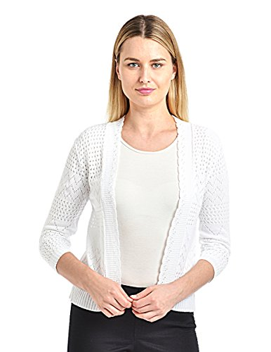 Knit Minded Junior's Pointelle ¾ Sleeve Geometric Shrug White 1X