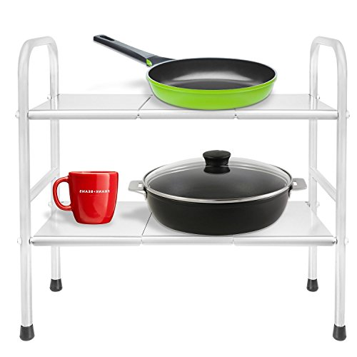 2 Tier Stainless Steel Expandable Adjustable Bathroom Kitchen Organizer Under Sink Shelf Storage (6 Interchangeable Chrome Racks)