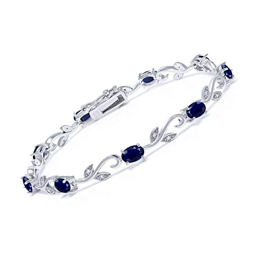 Gem Stone King 925 Sterling Silver Blue Sapphire and Diamond Greek Vine Tennis Bracelet 5.08 Ct Oval 7 Inch Gemstone Birthstone