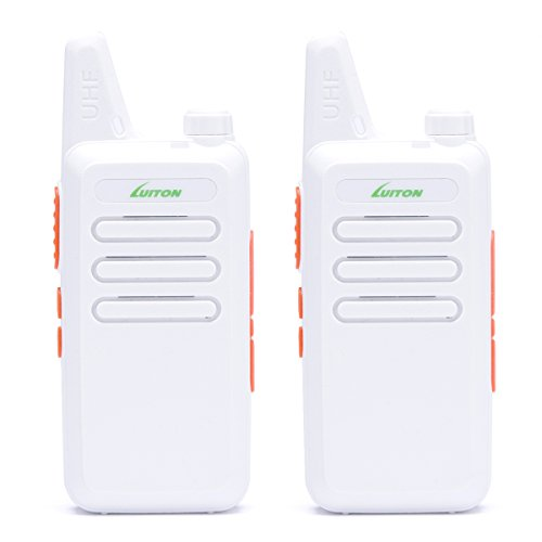 Two Way Radio Walkie Talkies LT-316 Outdoor Camping Hiking Hunting Uhf Mini Radios 3 Watts Output 5-10 Miles Range Micro USB Rechargeable Amateur Two Way Radio by LUITON (Pair) (White)