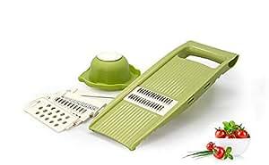 Hevaka Multi Purpose Shredder Grater Kitchen Slice Plane 5 in 1 Prevention of Food Material - Green
