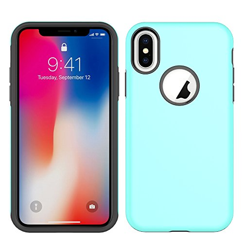 Price comparison product image iPhone X Case, HLCT Beautiful Design Slim Fit Thin, Interior TPU Bumper & Hard PC Back, Shock-Absorption Hybrid Dual-Layer Cover (Teal)