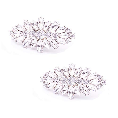 Casualfashion Fashion Decorative Silver/Gold Tone Crystal Rhinestone Shoes Clutch Dress Hat Shoe Clips 2 Pcs (Silver Tone) (Shoe Clips Rhinestone)