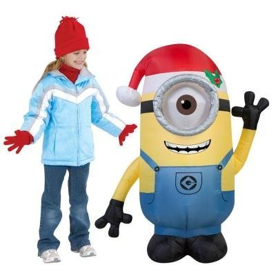 Gemmy Airblown Inflatable Stuart the Minion Wearing a Santa Hat - Holiday Yard Decorations, 3.5-foot (Despicable Me Dog Halloween Costumes)