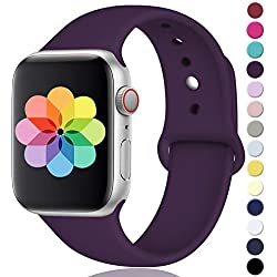 Laffav Compatible with Apple Watch Band 40mm 38mm, for Women Men, Silicone Sport Replacement Band Compatible with Apple Watch Series 4/3/2/1, Small/Medium, Plum Sarah