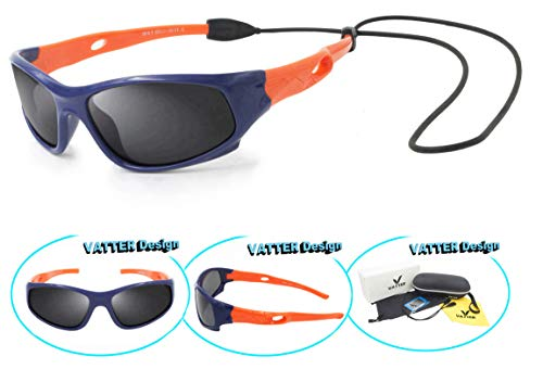 Kids Sunglasses (VATTER TR90 Unbreakable Polarized Sport Sunglasses For Kids Boys Girls Youth 816blueorange)
