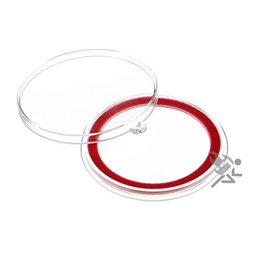 (10) Air-tite 40mm Red Velour Colored Ring Coin Holder Capsules with Loop Holders for American Silver Eagles & 1oz China Silver Panda Sterling