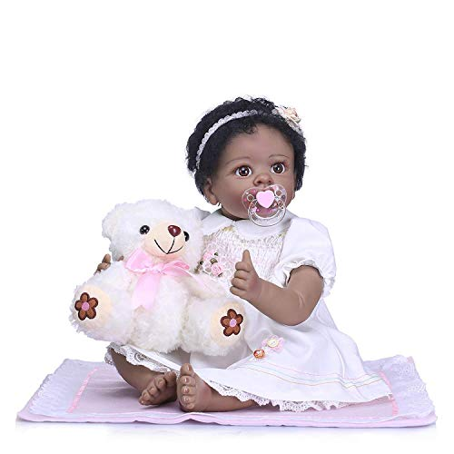 (iCradle Real Life 22 Inch 55CM Reborn Baby Dolls Nurturing Soft Silicone Realistic Looking Newborn Dolls Black Skin Girl Indian African Style Baby Doll Toy for Ages 3+)