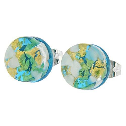 (GlassOfVenice Murano Glass Venetian Reflections Round Stud Earrings - Aqua Gold)