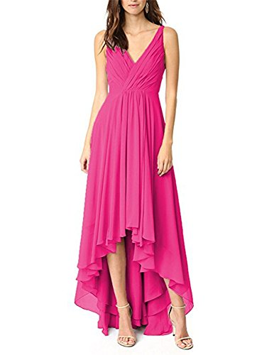 Jdress Women's Long Hi Low Prom Dresses Chiffon V-Neck Bridesmaid Gowns for Weddings Fuchsia
