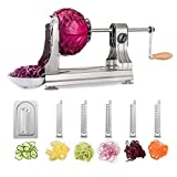 WellToBe Spiral Vegetable Slicer, 6 Blade Stainless Steel Vegetable Spiralizer, One-Hand Veggie Pasta Spaghetti Maker for Zucchini Slicer with 4 Strong Hold Suction