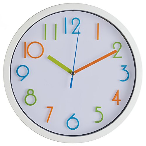 Colorful Kids Wall Clock- Quality Quartz Battery Operated Wall Clock, Easy To Read 3D Numbers, White 10