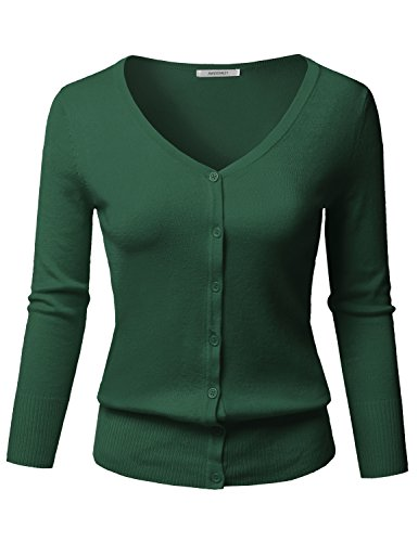 Solid Button Down V-Neck 3/4 Sleeves Knit Cardigan Huntergreen - Front Button V-neck Cardigan Jersey