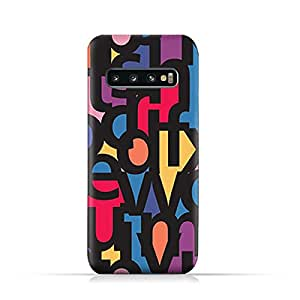 AMC Design Samsung Galaxy S10 Plus TPU Silicone Soft Protective Case with Abstract Fonts Pattern
