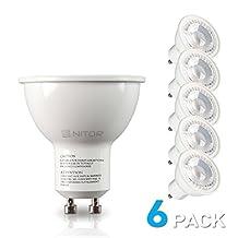 NITOR Lighting GU10 LED Bulb, 6 Watt (50W Halogen Equivalent), Dimmable Bulbs, 2700K Warm White, Track Lighting, LED Spotlight (6-Pack)