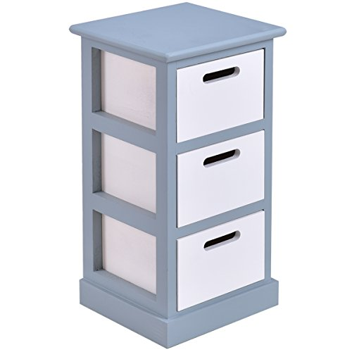 Giantex 3 Drawer Wooden Chest Bedside Cabinet Table Storage End Table Bedroom Furniture (1)