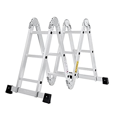 Finether 12.1 ft EN131 Scaffold Heavy Duty Multi Purpose Folding Aluminum Extension Ladder with Safety Locking Hinges, 330 lbs Capacity
