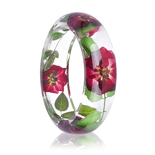 Rinhoo Handmade Real Dry Pressed Flower Botanical Rose Garden Transparent Resin Quartz Crystal Bangle Bracelet (Rose 2) (Resin Transparent Bracelets)