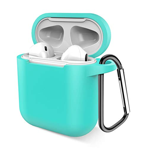 Airpods Case, Music tracker Protective Thicken Airpods Cover Soft Silicone Chargeable Headphone Case with Anti-Lost Carabiner for Apple Airpods 1&2 Charging Case (Green)