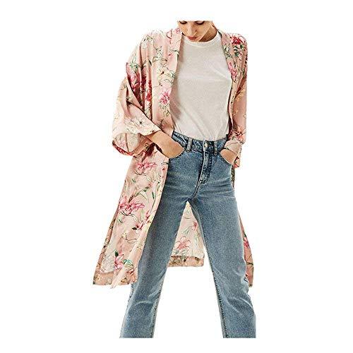 Cardigan Donna Elegante Estivi Lunga Cappotto Fashion Mode di marca Casuali Hipster Di Moda Bello Kimono Elegante Stampa Fiore Manica Lunga Tunica Outerwear (Color : Rosa, Size : M)