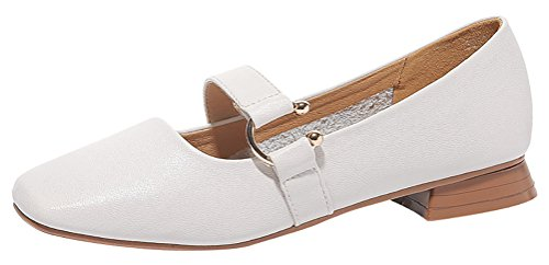 T&Mates Womens Retro Fashion Slip-on Strap Solid Low Heel Casual Dress Patent Leather Loafer Shoes (7.5 B(M)US,Beige)