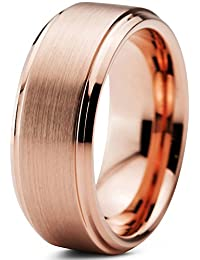 Tungsten Wedding Band Ring 8mm for Men Women Comfort Fit 18K Rose Gold Plated Beveled Edge Brushed Polished
