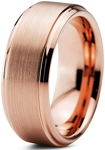 Charming Jewelers Tungsten Wedding Band Ring 8mm for Men Women Comfort Fit 18K Rose Gold Plated Plated Beveled Edge Brushed Polished Size - Band Beveled Polished