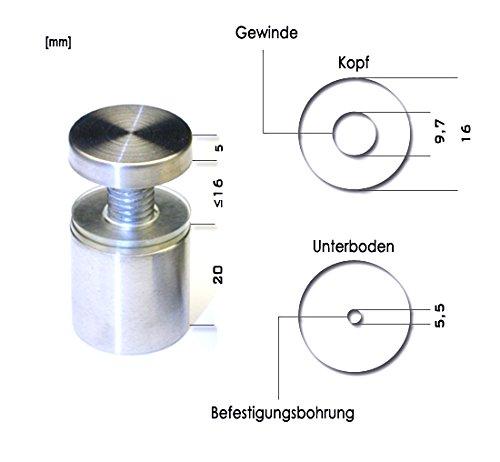 4 Abstandshalter 16x25 mm mit Gewinde | Schilderbefestigung Wandabstandshalter Edelstahl V2A