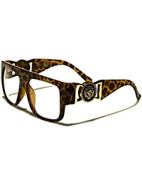Kleo Flat Top Aviator RX Glasses Gold Buckle Clear Lens...