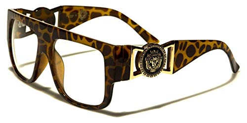Kleo Flat Top Aviator RX Glasses Gold Buckle Hip Hop Rapper DJ Celebrity Clear Lens ()