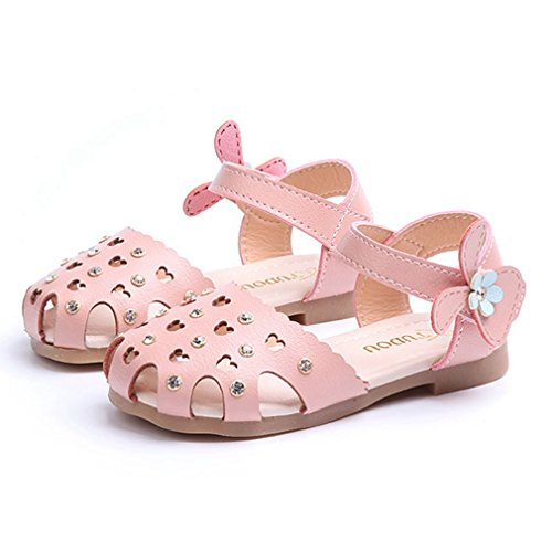 CYBLING Girls Closed-Toe Sandals Summer Cut Out Casual Princess Flat Shoes (Toddler/Little Kid) by CYBLING