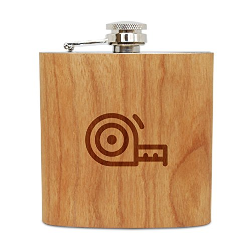 - WOODEN ACCESSORIES COMPANY Cherry Wood Flask With Stainless Steel Body - Laser Engraved Flask With Measuring Tape Design - 6 Oz Wood Hip Flask Handmade In USA