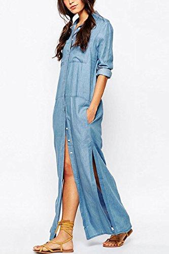 La Mujer De Manga Larga Camisa De Verano Elegante Solo Pecho Vestido De Hendidura Vestido Maxi Denim Blue