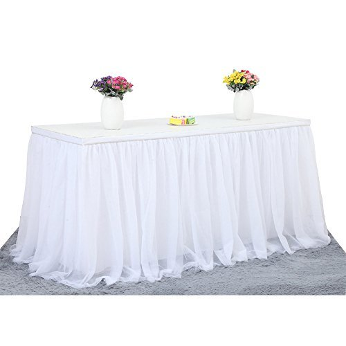 Haperlare 9ft Tablecloth White Tulle Table Skirt Queen Snowflake Wonderland Tulle White Tablecloth Tutu Tablecloth Skirting for Wedding Party Baby Shower Christmas Birthday Banquet Table Decorations -