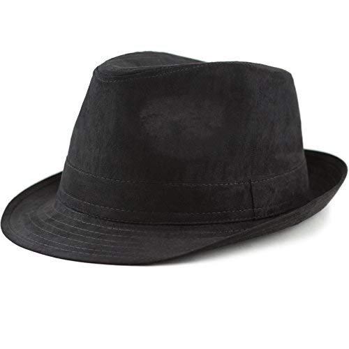 (THE HAT DEPOT Faux Suede Wool Blend Trillby Fedora Hats (L/XL, Black))