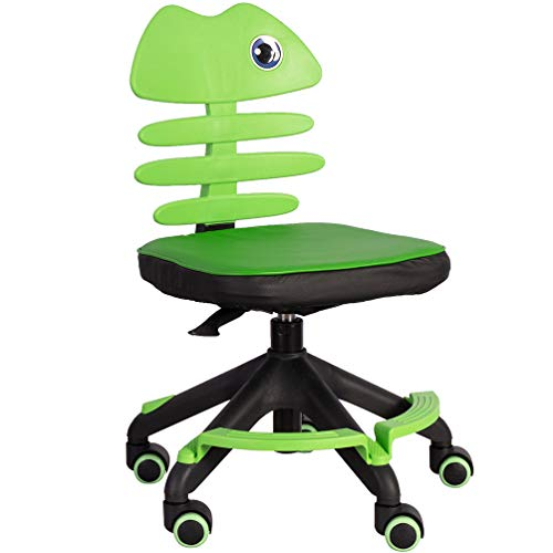 GOLDEN BEACH Kids Desk Chair with Soft Padded/Armless Home Office Computer Chair Adjustable Back & Height Children Reading Chair/Student Task Chair/Teens Study Chair with Revolving Wheels (Green)
